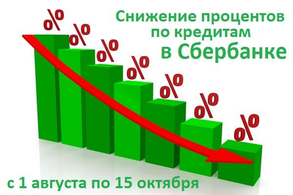 летнее снижение ставок по кредиту в Сбербанке